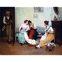 """Eugene De Blaas The Friendly Gossips - 21.1"""" x 28.1"""" Peel & Stick Removable Wall Decal"""