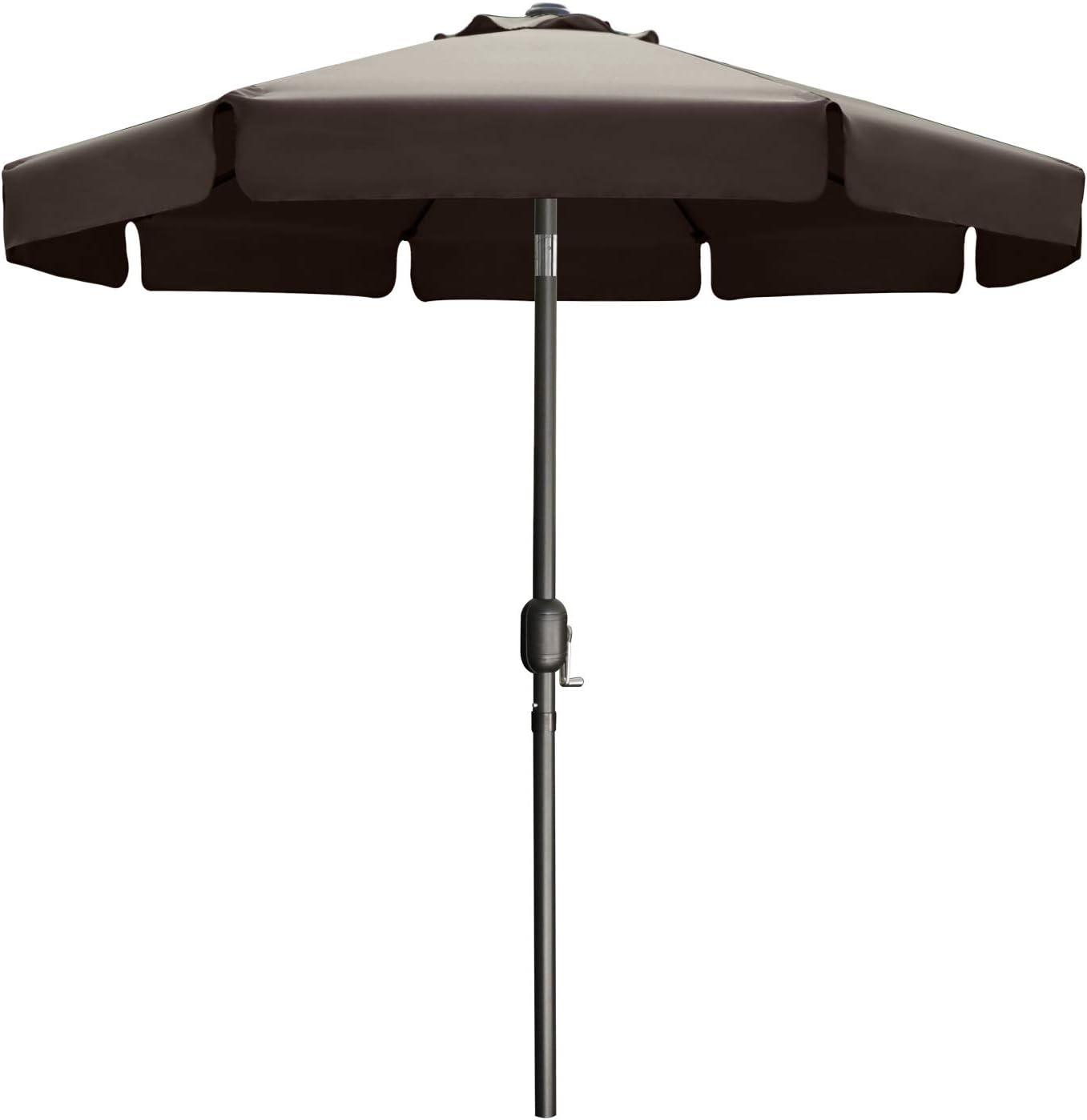 7.5' jardín al aire libre mesa paraguas patio paraguas mercado paraguas con botón inclinable para jardín, cubierta, patio trasero y piscina, 8 costillas 13+colores, marrón