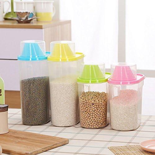 1,9 L 1 recipiente de almacenamiento para cereales mantiene los alimentos secos ideal para harina pl/ástico dispensador azul az/úcar y m/ás 21x16x8cm