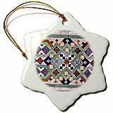 3dRose orn_73584_1 Morocco, Hassan II Mosque Mosaic, Islamic Tile Detail-AF29 KWI0022-Kymri Wilt-Snowflake Ornament, Porcelain, 3-Inch
