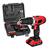 [US Stock] Cordless Electric Drill Screw Driver 20V 1500mA Lithium-Ion Battery Powerful Electric Drill Driver Built-in Light with 77 Pcs Project Kit Box for Engineering Home