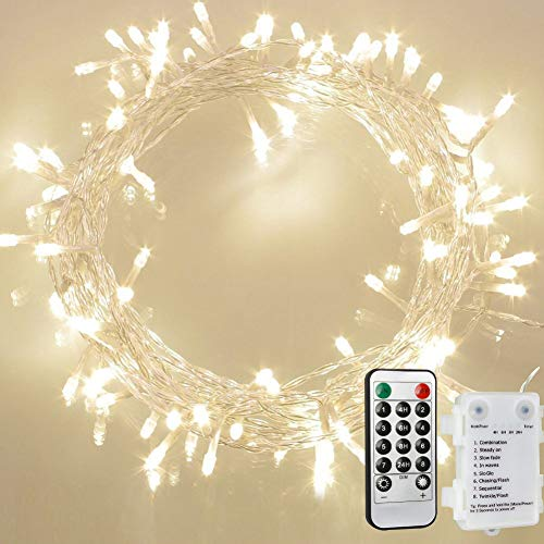 [Remote and Timer] 36ft 100 LED Outdoor Battery Fairy Lights, String Lights for Bedroom, Garden, Easter, Christmas Decoration (8 Modes, Dimmable, IP65 Waterproof, Warm White) (Remote and Timer) ()