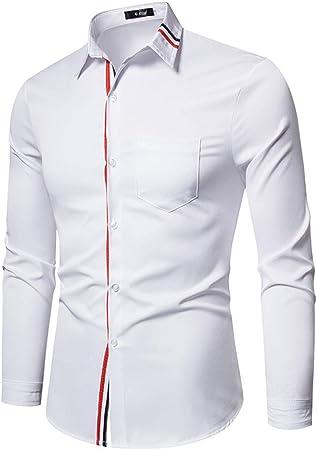 WL Camisetas de Hombre de Manga Larga Delgada Camisa Blanca ...