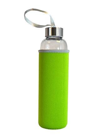 Nufoot BPA botella de agua de vidrio con manga de protección de neopreno, Unisex,