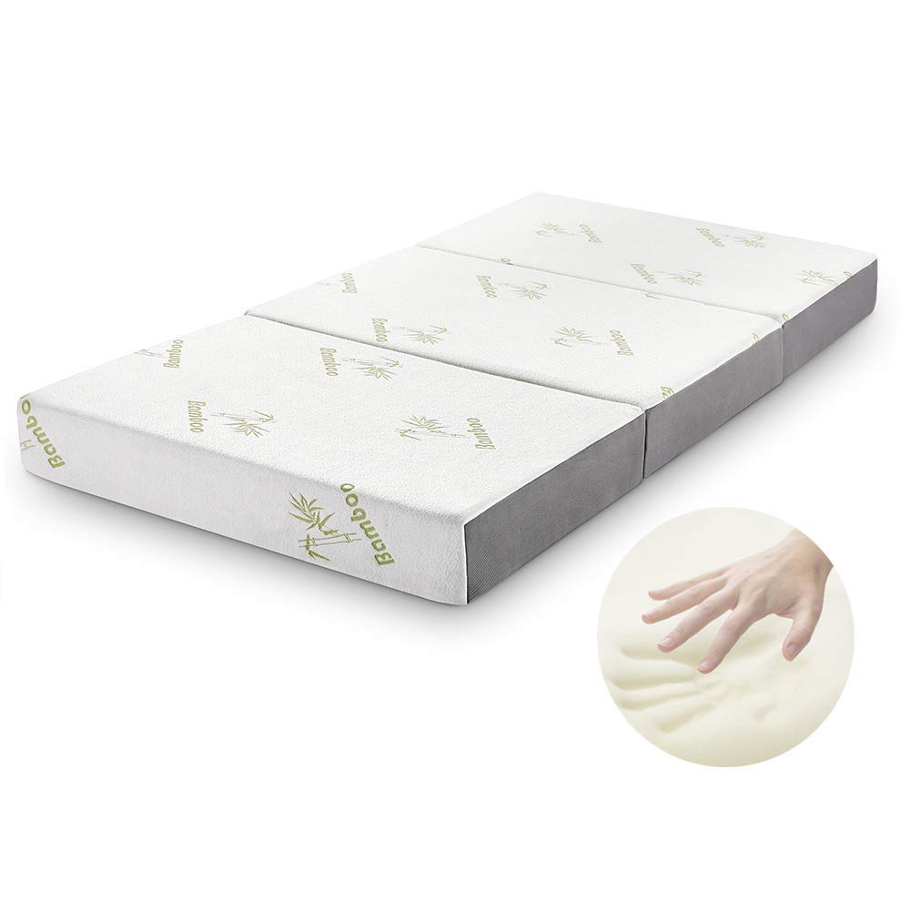Folding Mattress, Inofia Memory Foam Tri-fold Mattress with Ultra Soft Removable Cover Twin 6-Inch