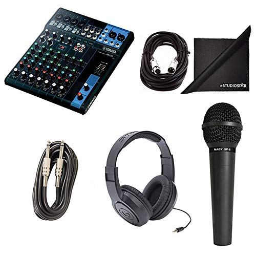Yamaha MG10 10-Channel Mixing Console Bundle with Vocal Mic, Headphones, XLR Cable, Instrument Cable, and Polishing Cloth ()
