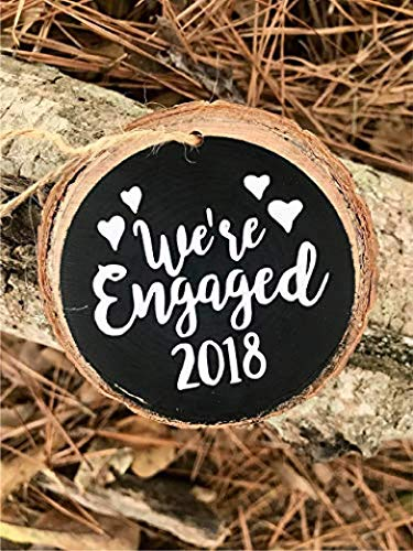We're Engaged Rustic Wood Slice Ornament