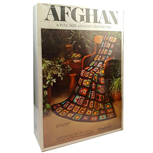 Vintage WonderArt ''Granny'' Full Size Afghan Crochet Kit No. 2407-01 by WonderArt