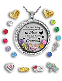 Grandma Gifts For Valentines Day for Mom from Daughter | Mother Daughter Necklace Floating locket necklace Grandma Jewelry Gift for Mom from Daughter - Best Gifts For Grandma Mom Necklaces for Women