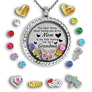 A Touch of Dazzle Generations Necklace for Grandma Gifts for Mom Necklace Mother Daughter Necklace Floating Charm Locket Pendant Necklace for Grandma