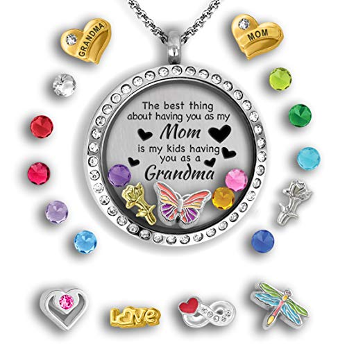 (Grandma Gifts For Mothers Day For Mom From Daughter | Mother Daughter Necklace Floating Locket Necklace Grandma Jewelry Gift For Mom From Daughter - Best Gifts For Grandma Mom Necklaces For Women)