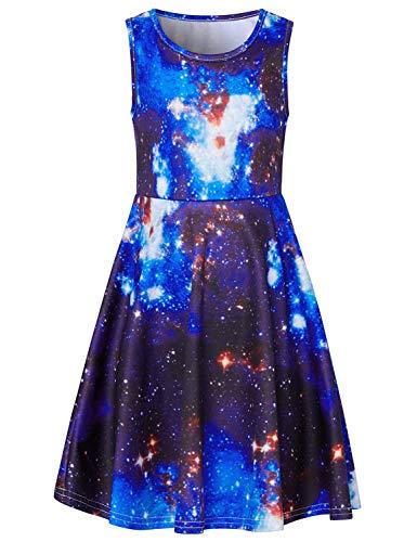 RAISEVERN Girls Sleeveless Dress 3D Print Cute Galaxy Universe Space Pattern Blue Summer Dress Casual Swing Theme Birthday Party Sundress Toddler Kids Twirly Skirt, Galaxy, 8-9T ()
