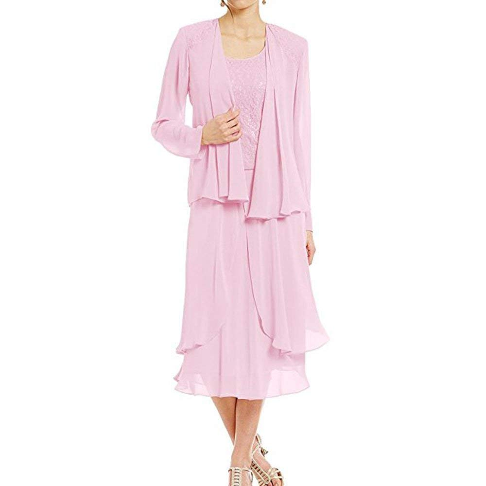Pink ANFF Women's Tea Length Mother of The Bride Dresses with Jacket for Weddings Evening Party Gowns