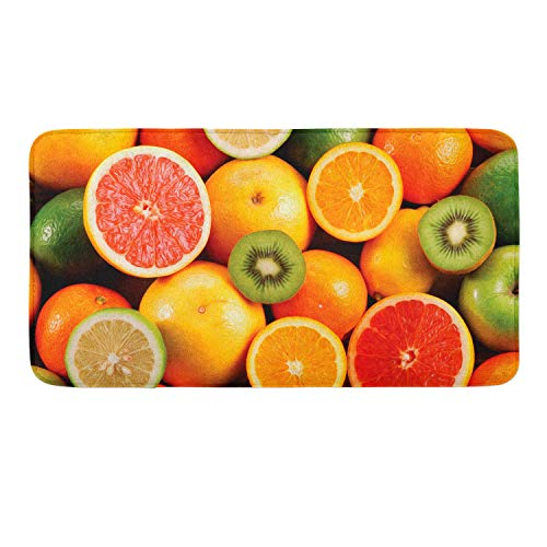 WHYG0 Anti-Skid Memory Foam Tub-Shower Bath Rug Lemon Orange Kiwi Fruit Home Decor Standing Mat Indoor & Outdoor Entrance Rug, Machine-Washable/Fast DryingDoormat for -