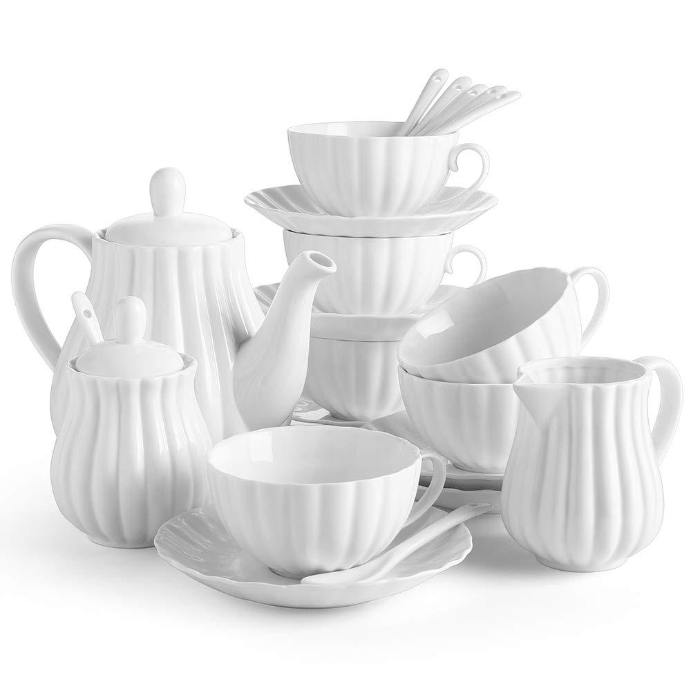 DOWAN 22 Pieces Porcelain Tea Set, Tea Gift Sets for Adults, Tea Cups and Saucers Sets of 6, Tea Pot, Teaspoon, Creamer and Sugar Set, Tea Service for Tea Party, White by DOWAN