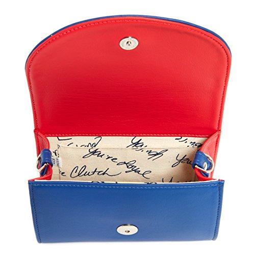 Red Silver Light Handbag Women Crossbody Clutch Stadium Accents Blue leather Compliant 07xHn6q