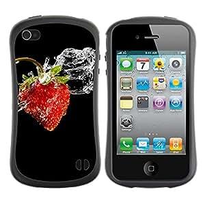 Paccase / Suave TPU GEL Caso Carcasa de Protección Funda para - Fruit Macro Wet Strawberry - Apple Iphone 4 / 4S