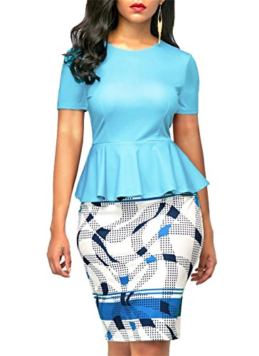 KISSMODA Womens Short Sleeve Work Bodycon Dress One Piece Midi Pencil Peplum Summer Dresses O Neck Light Blue Medium by KISSMODA (Image #1)