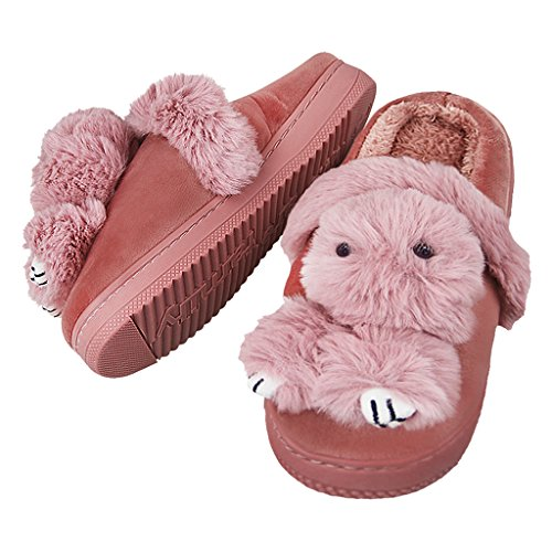 Cute Shoes Teen Women Rabbit Slippers Winter Fleece Thick Girls Cozy 2 Indoor 3D House Coral Fakeface F6txwn6