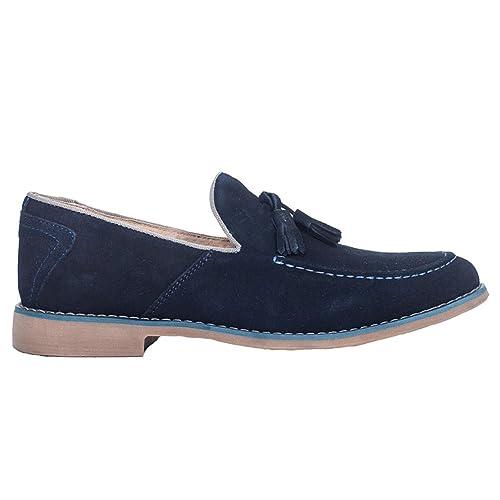 Front - Mocasines de Ante para Hombre Azul Azul Marino, Color Azul, Talla 41.5: Amazon.es: Zapatos y complementos