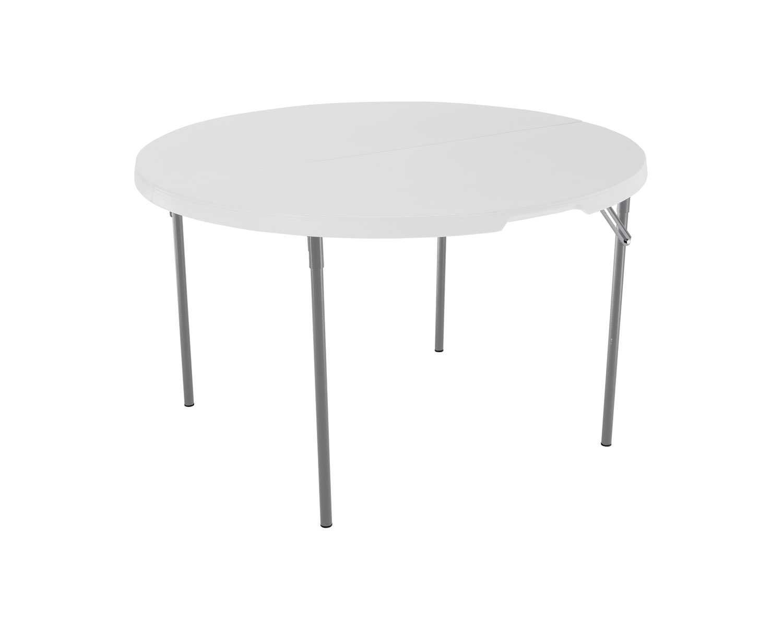 Lifetime 280064 Light Commercial Fold-In-Half Round Table, 4 Feet, White Granite