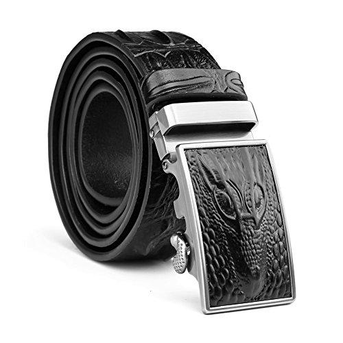 Mens 38mm Embossed Patterned Genuine Leather Belt with Ratchet Black,Christmas gift (Decoration Genuine Leather Belt)