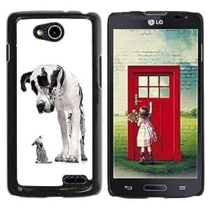 TopCaseStore / la caja del caucho duro de la cubierta de protección de la piel - Great Dane Chihuahua Black Spots Dogs - LG OPTIMUS L90 / D415