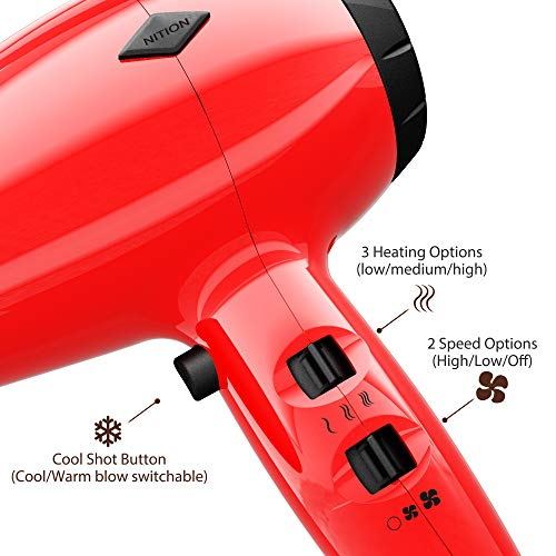NITION Ionic Hair Dryer with Diffuser Attachment 1875 Watt Ceramic Negative Ion Blow Dryer Cool Shot Button 3 Heat 2 Speed Settings for Quick Drying,Compact size Lightweight,Red