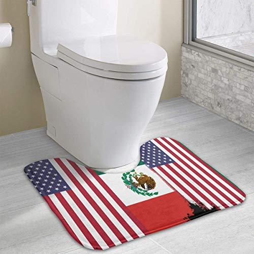 Bennett11 Mexican American Flag Ghana American Flag U-Shaped Toilet Floor Rug Non-Slip Toilet Carpets Shower Mat 19.2″x15.7″