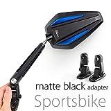 KiWAV Magazi Achilles motorcycle mirrors blue fairing mount w/ matte black adapter for sports bike adjustable e