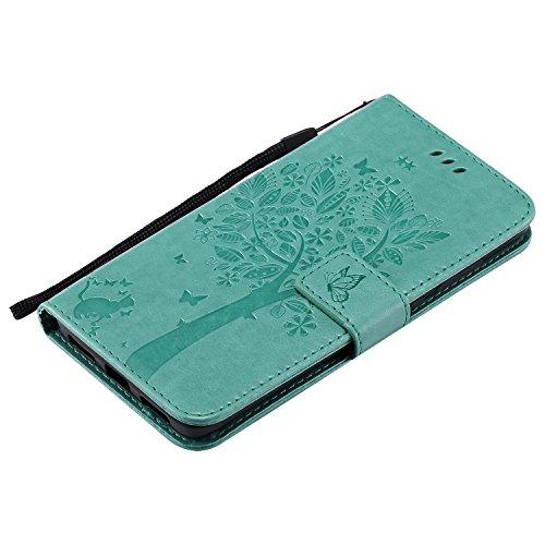 Ecoway Para xiaomi Redmi note 4X Funda, (luz púrpura)Gatos y diseño en relieve árbol Cuero de la PU Leather Cubierta , Función de Soporte Billetera con Tapa para Tarjetas Soporte para Teléfono Verde