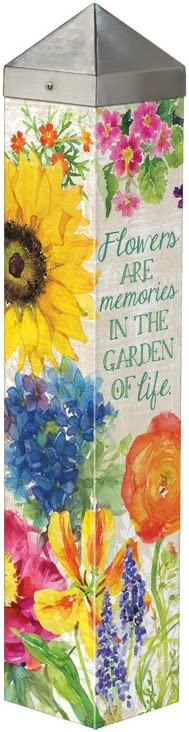 Studio M Garden Art Pole Fade-Resistent Outdoor Décor , 20-Inches Tall, Flowers Are Memories