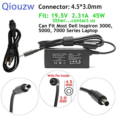 Qiouzw 19.5V 2.31A 45W AC Laptop Adapter Charger Replacement For Dell Inspiron 11 13 14 15 17 3000 5000 7000:3552 3558 3452 5555 5558 5559 5565 5567 5568 5578 7579 - Inspiron Adapter 5100 Power
