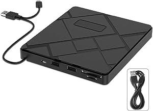 VersionTECH. External DVD CD Drive, USB 3.0 Type C Portable CD/DVD +/-RW Disk Player Burner Writer with SD/TF Card Reader/2 USB Hub Data Transfer for Mac OS MacBook Pro/Air iMac Laptop Windows Desktop