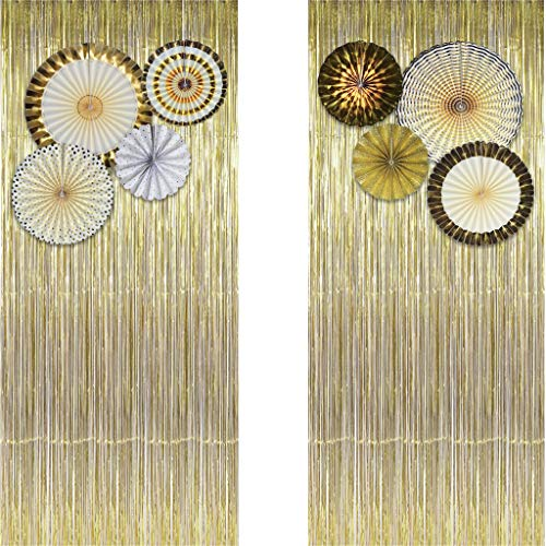 Gold Metallic Tinsel Foil Fringe Curtains (Set of 2) - Party Photo Booth Backdrop + 8 Paper Fans Flower Hanging Banner - Party Decorations Supplies Set for Bachelorette Birthday Bridal Shower