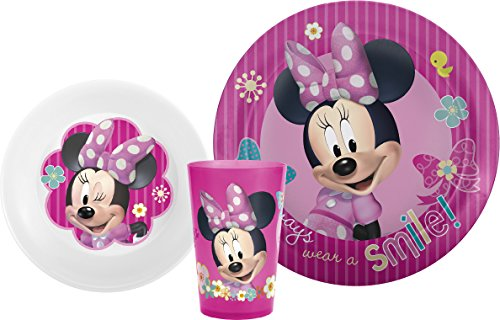 Zak! Designs Mealtime Set with Plate, Bowl and Tumbler featuring Minnie Mouse, Break-resistant and BPA-free plastic, 3 Piece (Minnie Mouse Plates)