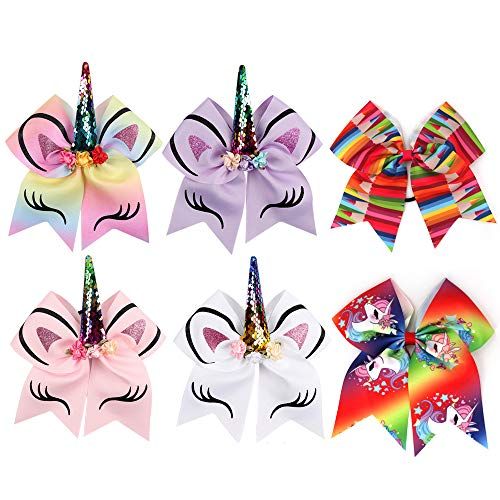 6 Pcs Large Colorful Bow Hair Bows, 8 Inch Unicorn Cheer Bows Teen Girls Hair Bow with Elastic Band for Cheerleader Girls ()