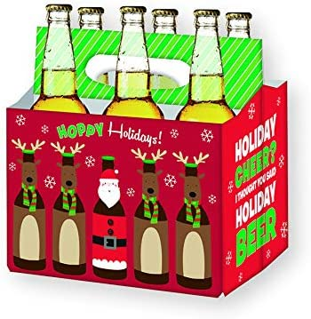 Holiday Beer Lovers Gifts 6 Pack Craft Beer Carrier Gift Box In Festive Designs Best Christmas Gifts For Men Office Christmas Party Corporate Gifts Xmas Gifts For Dad Holiday Beer