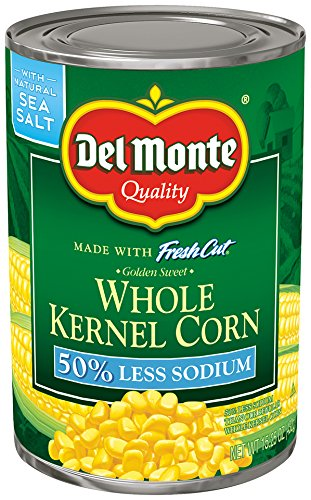 Del Monte Canned Fresh Cut 50% Less Sodium Golden Sweet Whole Kernel Corn, 15.25-Ounce (Pack of 12) ()