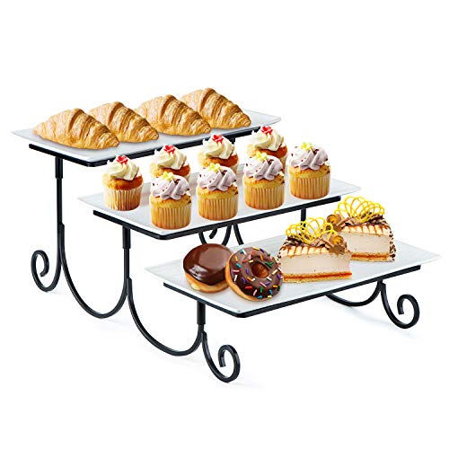 SRIWATANA Tiered Serving Stand with Server Rectangular Platters, Three White Porcelain Food Dessert Display Tray for Party, Wedding, Birthday