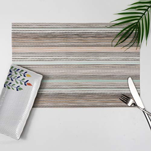 Millie Home Pacemats for Dining Table Vinyl Heat Resistant Wipeable Stripe Placemat Non-Slip Washable PVC Kitchen Place Mats Set of 6,Green Stripe