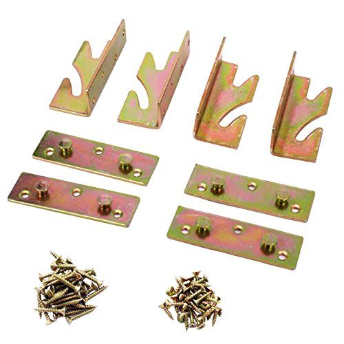 Ansoon 4 Sets No Mortise Bed Rail Brackets (70 Pcs Phillips Wood Screws Included)