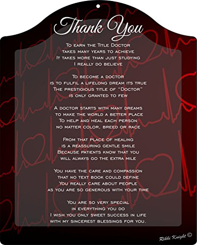 Rikki Knight Thank you Doctor - Heartbeat Touching 8x10 Poem Plaque with Arch Top (Thank You Gifts For Doctors)