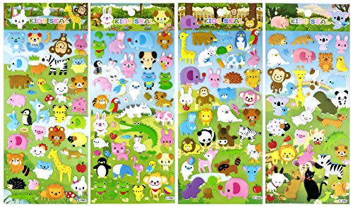 SET052-ZOOV2 - 4 Different Sheets Lovely Animal in Zoo Reusable Puffy Stickers