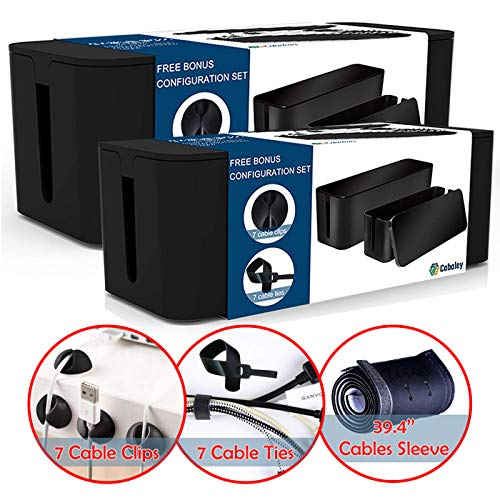 Cable Management Box Organizer Set,Pack of 2 with Configuration Kit,Updated Anti-Skid Design,Large and Medium Black Boxes with Cable Ties,Clips and Sleeve.Covers and Hides Cords/Wires/Power Strips