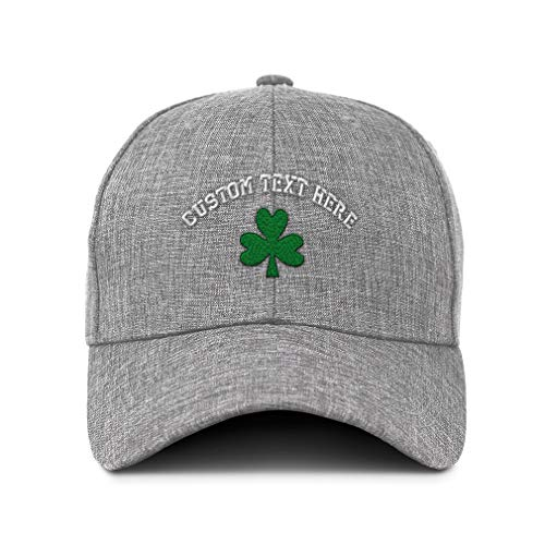 (Custom Twill Baseball Cap Shamrock Embroidery Design Acrylic Casual Hats for Men & Women Hook & Loop Light Grey Personalized Text Here)
