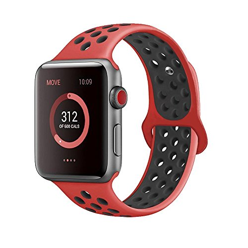 AdMaster for Apple Watch Bands 38mm,Soft Silicone Replacement Wristband for iWatch Apple Watch Series 1/2/3 - S/M Red/Black