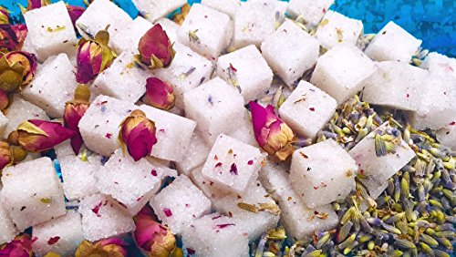 Rose Champagne Gift (Rose Petal Lavender Sugar Cubes (120+) Gift Ready Petite Tea/Coffee Sweetener Champagne Sugar Cubes