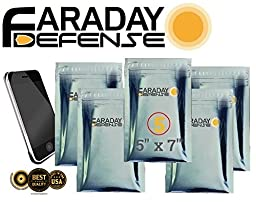 Faraday Cage EMP ESD Bags Premium 5pc Uber THICK & Heavy Duty 5x7 Cell iPhone Android Windows w/ 5 Bags