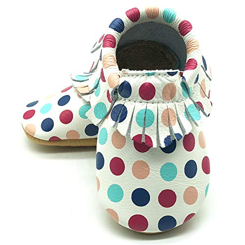 (Owlowla Baby Moccasins Leather Soft Sole Newborn Crib Shoes for Boys and Girls(dots,US8))